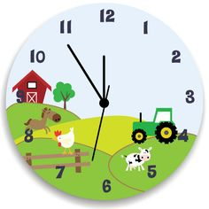 Chicos dormitorio reloj, vida en la granja, vivero del colgante de pared