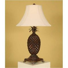 Carved Pineapple Table Lamp by Passport Accent Furniture (Brown)