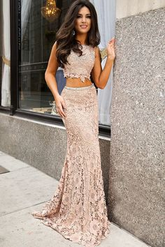 elegant two piece lace prom dress with beading, bodycon mermaid lace party dress with open back