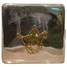 Argentine Polo Asociation Silver Cigarette or Card Holder Case with Polo Horse