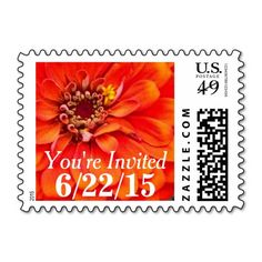 Personalized, floral, You're Invited postage stamps feature a beautiful, flame orange zinnia. Easy to personalize! Add a splash of vibrant color and cheer to your bridal shower, wedding, or party invitations and announcements with these beautiful, floral postage stamps. Available horizontal or vertical, in a variety of postage denominations, and other matching products (envelope seals, mailing labels, invitations, etc).