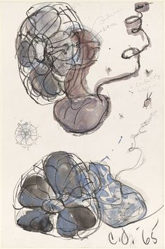 Claes Oldenburg  Soft Fans, 1965  Charcoal, graphite, watercolor on paper  17-3/4 x 11-1/2 inches