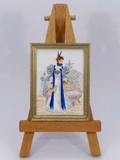 Dollhouse Miniature Accessory Artist Easel Stand /& 2 Wood Paintings Pictures KC