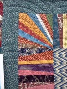 Close up of the corner of Gwen Marston's String Quilt at the AQS Show in Des Moines, IA 2012