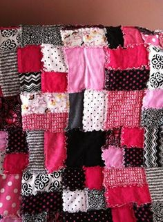 Rag quilt made in shades of pink, black and white. Made for a special lady and her newborn baby girl, Arya.