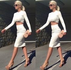 White pencil skirt and crop top