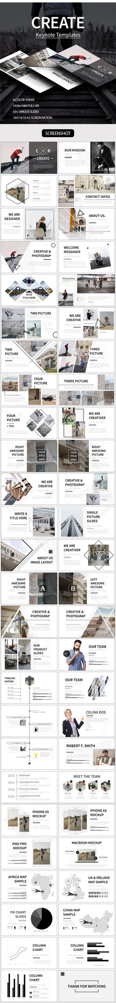 CREATE Keynote Template  #modern #biz • Download ➝… 심플, 사진,배치