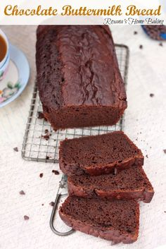 Chocolate buttermilk bread from Roxanashomebaking.com A cross between quick bread and cake, with a tangy buttermilk taste and slightly chocolate-y and sweet