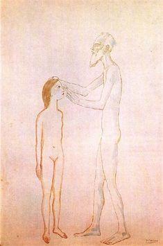 Blind man and girl, 1904 by Pablo Picasso. Naïve Art (Primitivism). genre painting