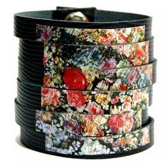 """Skórzana bransoletka """"Kwiatowa łączka"""" #Bransoletka #kwiaty"""