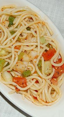spaghetti salad -a favorite!    I don't use cucumbers or celery, but I add zuccini and yellow squash, sliced black olives and I use the entire bottle of Salad Supreme.  I would use yellow or orange bell peppers for a color contrast against the tomatoes as well.  Salad Supreme is in the Spice Aisle.