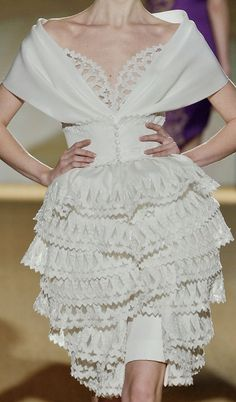 fausto sarli (oh, please pair this with the cloud of an edwarian up-do! Couture Fashion, Runway Fashion, Womens Fashion, Fashion Details, Fashion Design, Little White Dresses, Couture Dresses, Fashion Dresses, White Fashion