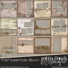 Digital Quick Page Album - P365 Essentials Vintage Shabby Chic Digital Scrapbook Album - 12 Pre-Made Layout Pages by Robyn Gough Designs on Etsy. digital scrapbooking, digiscrap