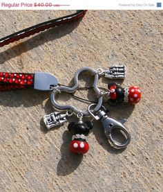GRAD SALE Long Neck Red Bling Lanyard Keychain Mickey N Minnie Mouse Style Disney Inspired Lampwork DeSIGNeR Key Fob