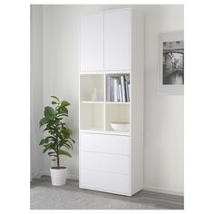 View EKET Storage combination with feet, white. With the EKET series you can build your storage big, small, colorful or discreet to either display or hide your things. And if your space and needs change, you can easily change your EKET solution too. Storage Cabinets, Tall Cabinet Storage, Cupboards, Ikea Eket, Ikea Family, Painted Drawers, Drawer Fronts, White Bedroom, Particle Board