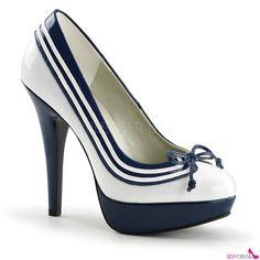 cdb48e4ae5369 LOLITA-13 Dámské lodičky na podpatku námořník Striped Shoes, Pumps Heels,  Peep Toe