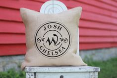 Personalized Wedding Gift Burlap PILLOW with embroidered Monogram, Family Name & Established Date, house warming anniversary, engagement.