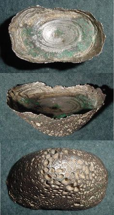 Varying views of a boat-shaped 3 tael silver sycee ingot.