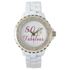 50 and Fabulous, Glam Pink and Gold Ladies Wristwatch. #ladieswatch #50andfabulous #fiftyandfabulous