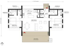 Modern Style House Plan - 2 Beds 2 Baths 991 Sq/Ft Plan #933-5 Floor Plan - Main Floor Plan - Houseplans.com