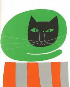 """Cat by Paul Rand in """"I know a lot of things""""   < taste > girly / pop / retro  simple / bold  < media material > / poster < layout > layoutで分類した後にさらに分類   < colour > colourで分類した後にさらに分類    < decoration > 分類した後にさらに分類"""