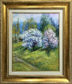 This is an unique work by the author, painted in oil on canvas. This art piece brings to you the positive energy of the greenery and spring spirit transmitted through blooming trees. Blooming Trees, Spirited Art, Greenery, Fields, Oil On Canvas, Art Pieces, Paintings, Landscape, Spring