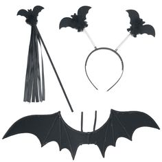 Fledermaus-Set - Flügel ca. 95 cm Breite - Haarreif - Stab mit Fledermaus
