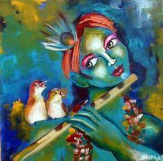 Krishna art by indian artist. Beautiful!