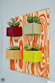 Build a succulent wall planter using scrap wood. This planter from East Coast Creative is eye-catching and can be tailored to suit any color scheme and style.