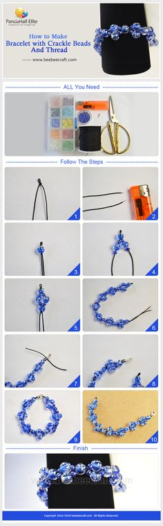 #Beebeecraft shows u how to make #bracelet with #cracklebeads and #thread