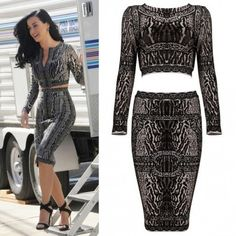 Katy Perry Lace Printed 2 Piece http://www.celebdressy.com/Katy-Perry-stepped-out-of-her-trailer-in-LA-in-a-printed-two-piece