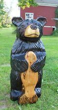 BIG Original Chainsaw Carving Bear Fish Hand Carved Rustic Cabin Decor Sculpture