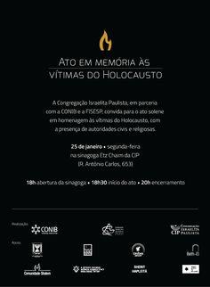 Comunidade judaica paulista promove evento em recordação ao Dia Internacional em Memória das Vítimas do Holocausto. Por ocasião do Dia Internacional em Memória das Vítimas do Holocausto, a Confederação Israelita do Brasil (Conib), a Federação Israelita do Estado de São Paulo (Fisesp) e a Congregação Israelita Paulista (CIP), promovem no domingo, 25 de janeiro, às…