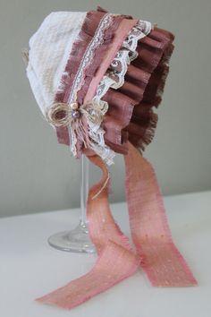 Unique Linen Bonnet with Pearls Lace and Burlap by sebbysgrandma, $19.00