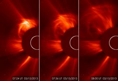 The ESA and NASA Solar Heliospheric Observatory (SOHO) captured these images of the sun spitting out a coronal mass ejection (CME) on March 15, 2013, from 3:24 to 4:00 a.m. EDT.