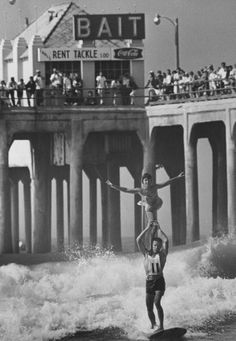 Huntington Beach tandem surfing competition. Doesn't get much cooler than this!