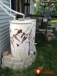 Rain Barrels painted with stencil and exterior house paint Lawn And Garden, Garden Art, Garden Design, Stencil Painting, House Painting, Water Barrel, Water Collection, Rainwater Harvesting, House Paint Exterior