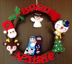 Ghirlanda natalizia, feltro - felt, Christmas door decoration - couronne de Noël, feutre