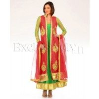 #Exclusively.in, #Indian Ethnic wear, Green Anarkali Suit with Red Dupion Silk Jacket