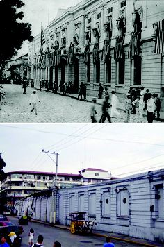 The Ayuntamiento in the 1920s, dressed up possibly for 4th of July and in 2005, many years after WWII left it in ruins.