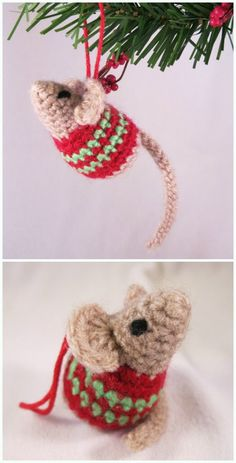 Crochet Diy Amigurumi Little Christmas Mouse Crochet Free Pattern - DIY Crochet Pattern Free, Crochet Diy, Crochet Mouse, Crochet Patterns Amigurumi, Crochet Gifts, Crochet Ideas, Doilies Crochet, Crochet Braids, Crochet Christmas Ornaments