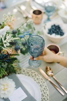 Sapphire Goblet — Gathered Table Supply Co Blue Sapphire Goblet Glass Wine Water Calgary Event Decor Summer Wedding Decorations, Easter Table Decorations, Wedding Ideas, Wedding Shoot, Wedding Details, Teal And Grey Wedding, Antique Glassware, Event Decor, Wedding Table