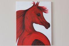 Original Acrylic horse painting Arabian by THELLIpaintedTshirts