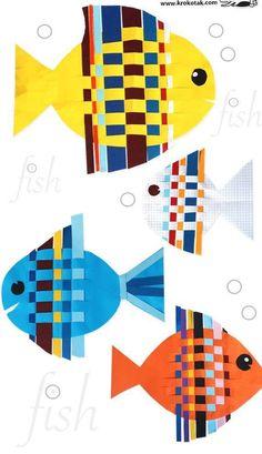 Manualidades con papel trenzado: fotos ideas para niños - Figuras de peces papel…