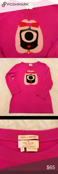 Kate Spade Pink KSNY x Darcel Sweater RARE Darling hot pink Kate Spade sweater created in collaboration with Darcel featuring a cute little one eyed alien girl. Size Small, 100 % wool, soft lightweight with 3/4 sleeves. New! Super CUTE!!! Rare sold out design. kate spade Sweaters Crew & Scoop Necks