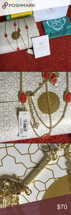 Kelsie gold necklace Red stones with gold chain. Long necklace from kendra scott. NEW with tag attach, will comes with all in the picture. Box, dustbag, card. Retail for $95 before tax, send me your offer with offer with offer button 😘 Kendra Scott Jewelry Necklaces