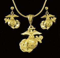 Usmc ega necklace 1 sterling marine corps marines and usmc aloadofball Images