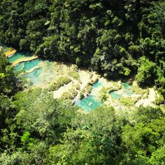 Incredible view from an observation deck onto the pools of Semuc Champey in Guatemala, Central America