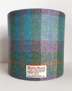 Turquoise, Green, Violet, Tartan Check Harris Tweed Lampshade, Scottish Style, Rustic Decor, Gin Bottle Lamp, Contemporary, Table Lamp by Lucy Wagtail