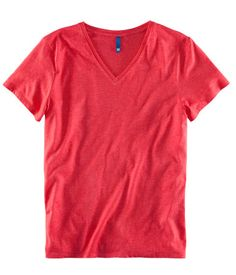 Red Marl Jersey V-neck T-shirt from H and M